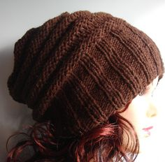 knit hat slouchy hat BROWN mens hat or ANY COLOR by Ifonka