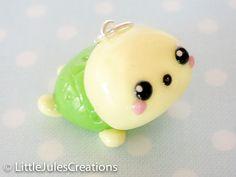 Kawaii green turtle polymer clay charm. $4.50, via Etsy.
