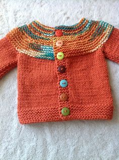 Free Knitting Pattern for Cozy Long Cardigan - This long sleeved coat length sweater is a quick knit in jumbo yarn. Sizes Small to Designed by Christine Marie Chen for Red Heart. Great for multi colored yarn. Baby Sweater Patterns, Baby Cardigan Knitting Pattern, Knitted Baby Cardigan, Knit Baby Sweaters, Baby Knitting Patterns, Baby Patterns, Fall Cardigan, Crochet Patterns, Toddler Cardigan