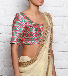 #Multicoloured Woven #Brocade Silk #Blouse by #Divya #Kanakia at #Indianroots