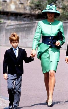 July 18, 1992: Princess Diana and her son Prince Harry attending the wedding of Lady Helen Windsor and art dealer Tim Taylor at St. George's Chapel.
