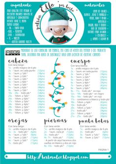 Patrones Navideños : Elfo Patron Crochet, Crochet Santa, Crochet Dolls, Crochet Earrings Pattern, Crochet Patterns, Crochet Christmas Ornaments, Christmas Patterns, Crochet Geek, Amigurumi Doll