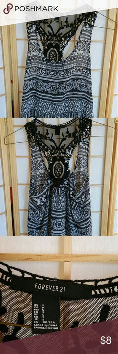 Tribal print tank from Forever 21 sz S Has lace and crochet embellishments on the back. Forever 21 Tops Tank Tops