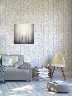 Herringbone hand-drawn. StenCilit |Decorative Scandinavian Feather Wall Stencil for DIY project, Wallpaper look and easy Home Decor. Scandinavian design