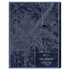 Equally at home in an artful collage or on its own as an eye-catching focal point, this hand-stretched canvas print showcases a vintage-inspired map of Los A...