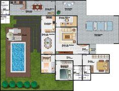Planta de casa térrea com 3 quartos, 2 vagas na garagem, varanda, escritório, edícula e piscina