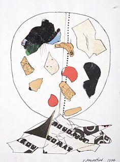 Janoušková Věra (1922-2010) | Hlava, 1994 | Aukce obrazů, starožitností | Aukční dům Sýpka Collages, Art Moderne, Illustration, Artist, Cards, Drawing Drawing, Artists, Illustrations, Maps