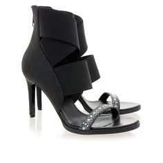 Helmut Lang Diazo Stingray-Effect Strap Heeled Sandals (22.495 RUB) via Polyvore featuring shoes, sandals, strappy high heel sandals, strap high heel sandals, strap sandals, heeled sandals и leather high heel sandals