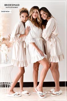 Bridal Robes Getting Ready, Bridesmaid Getting Ready, Bride Getting Ready, Bride Slippers, Wedding Slippers, Bridesmaid Slippers, Bridesmaid Robes, Bridesmaid Proposal, Cute Bridesmaids Gifts