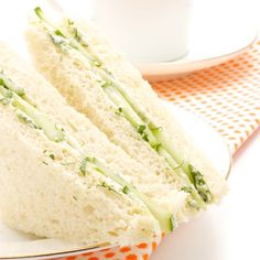Cucumber, egg, and tuna salad sandwiches, I would use chicken instead of tuna