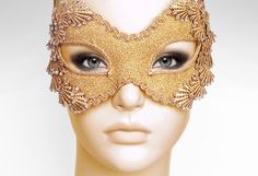Metallic Glitter Gold Masquerade Mask With Rhinestones by SOFFITTA, $75.00