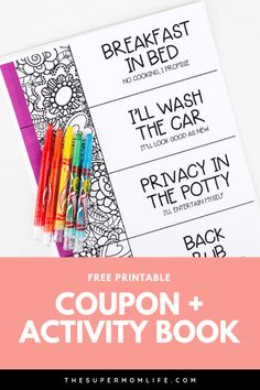 Looking for a cute Mother's Day gift idea? Mom will cherish this free, printable coupon and activity book for years to come. Looking for a cute Mother's Day gift idea? Mom will cherish this free, printable coupon and activity book for years to come. Cute Mothers Day Gifts, Diy Gifts For Mom, Mothers Day Crafts, Mother's Day Coupons, Gift Coupons, Store Coupons, Mother's Day Printables, Birthday Coupons, Books For Moms