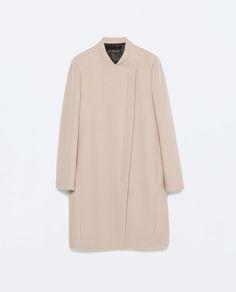 Image 8 of CONTRAST ZIP CROSSOVER COAT from Zara