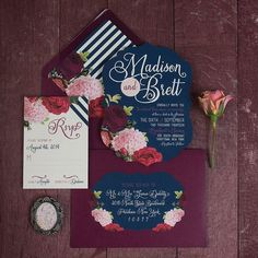 """102 Likes, 5 Comments - Reverie Gallery (@reveriegallery) on Instagram: """"This floral and wine colored #weddinginvitationsuite by @lddesigns is beyond!  #reveriegallery…"""""""