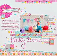 Party Time - Scrapbook.com - Match your scrapbook supplies to your party decor for a fantastically bright and fun layout!