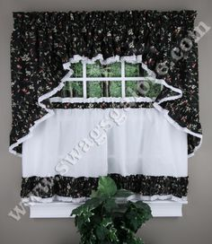 Cherries is a wonderful Ruffled Swag & Tier Program, Sold as seperates. Swags, Tiers & insert valances are ruffled & accented with lace.  #Cafe #Tier #Curtains