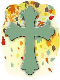 Cross On Fall Leaves Background Door Hanger