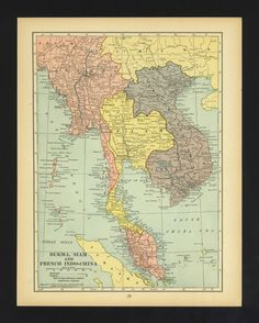 Large Vintage Map East India Burma Myanmar Siam Thailand French