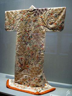 Kosode Style vintage kimono, embroidered silk satin