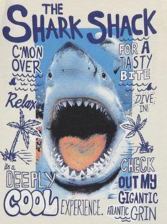 Shark Shack T-shirt Graphic Design Illustration, Illustration Art, Illustrations, Kids Graphics, Kids Prints, Lettering, Printed Shirts, Screen Printing, Graphic Tees