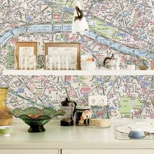 Need a new style for your kitchen? Look at this! #kitchen #design #wallpaper #citymap #pimpupyourkitchen