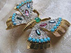 Vintage Rhinestone Butterfly Brooch Jomaz by ToadSuckTreasures, $75.00