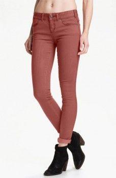 Free People Colored Stretch Denim Skinny Jeans in Maroon worn by Sophie #theoriginals #sophiedeveraux