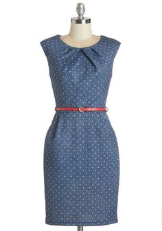 Teaching Classy Dress in Navy Dots - Blue, White, Polka Dots, Belted, Work, Casual, Shift, Cap Sleeves, Woven, Good, Scoop, Mid-length, Pockets