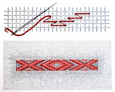 Semne Cusute: INCRETURI - punctul banatean in linie oblica pe do. Embroidery Stitches, Embroidery Patterns, Bargello Needlepoint, Mirror Work, Darning, Master Class, Cartoon Art, Traditional Outfits, Crochet