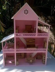 casinha de boneca polly em mdf pintada mobiliada com 31 pçs