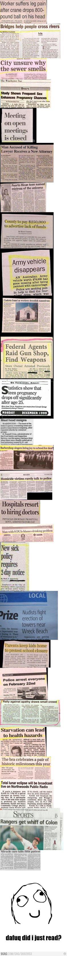 Obvious headlines...
