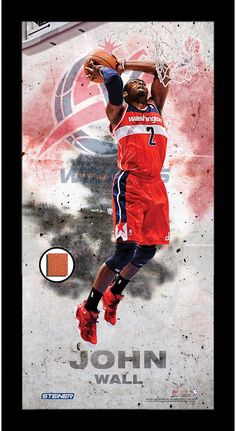 John Wall Player Profile Framed 10x20 Photo Collage w/ Game Used Basketball Celebrate one of the most exciting players in the League with this Steiner original Framed 10x20 photo collage which include