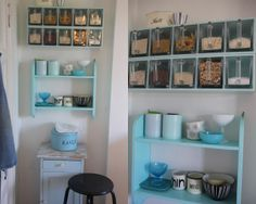 ikea-shelves painted in aqua shade Kid Spaces, Small Spaces, Ikea Shelves, Compact Living, Vintage Fabrics, Home Organization, Bathroom Medicine Cabinet, Aqua, Inspiration