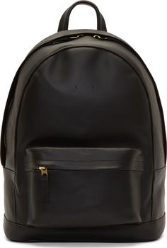 PB 0110 Black Matte Leather Small Backpack Black Leather Backpack 0e72152f29d66