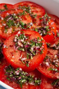 Italian Tomato Salad (Marinated Tomato Salad) - Love and Good Stuff Fresh Tomato Recipes, Tomato Salad Recipes, Best Salad Recipes, Vegetable Recipes, Vegetarian Recipes, Cooking Recipes, Healthy Recipes, Italian Salad Recipes, Spinach Salads