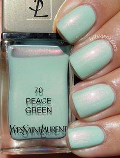 ives st laurent Peace Green is a light airy jasper green with an opal-like pink/copper shimmer flash