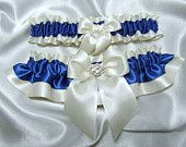 Horizon / Royal Blue  Wedding Garter Set w/ Real Crystals and Large Bow - Available in White, Ivory, Or Gray - Plus Size Too