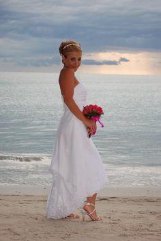 Perfect mix of wedding and beach attire