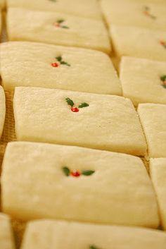 Sweet, simple vanilla bean shortbread cookies dressed for Christmas.