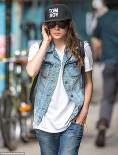 Ellen Page. love her style!《《I know it's a denim vest but I think with a tighter and shorter cut, it'd work for Hannah