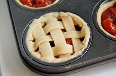 Brilliant mini pies made in a muffin tin. Note to self: This is what you can do to satisfy a pie craving and not have to eat an entire pie. Because we wouldn't want to waste it! No Bake Desserts, Just Desserts, Delicious Desserts, Yummy Food, Holiday Desserts, Mini Cherry Pies, Mini Pies, Pie Recipes, Dessert Recipes