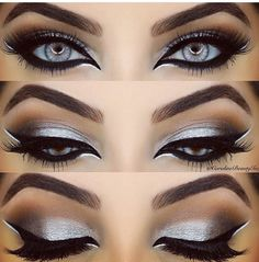 Stunning silver - silver eye make up Gorgeous Makeup, Pretty Makeup, Love Makeup, Makeup Inspo, Makeup Art, Makeup Inspiration, Skin Makeup, Eyeshadow Makeup, Eyeshadows