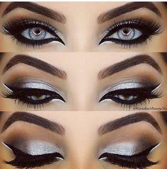 Stunning silver - silver eye make up Gorgeous Makeup, Pretty Makeup, Love Makeup, Makeup Inspo, Makeup Inspiration, Crazy Eye Makeup, Skin Makeup, Eyeshadow Makeup, Eyeshadows