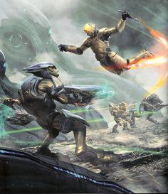 Spartan III Attacks a Sangheili Elite. Halo Game, Halo 3, Odst Halo, John 117, Cyberpunk, Halo Armor, Halo Spartan, Halo Master Chief, Halo Series