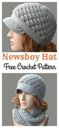 Cross-Over Long DC Newsboy Hat Free Crochet Pattern