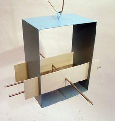 Cubist Modern Bird Feeder in Aqua