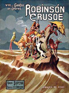 Crusoe,Robinson (Personaje de ficción). Robinson Crusoe / [dibujos de Asha] [193-?]