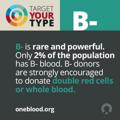 B- donors can maximize their gift by giving an automated Double Red Cell donation. Learn  more about B negative blood  here. http://www.oneblood.org/target-your-type/b-negative.stml