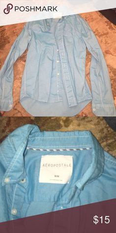 Button-Up Bright Blue Aeropostale Shirt. NWOT Button-Up Bright Blue Aeropostale Shirt. NWOT. Second pic depicts color better. Aeropostale Shirts Casual Button Down Shirts