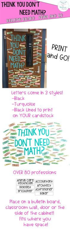 Think you don't need math? Bulletin Board Kit Quote  Do your students wonder why they need math? This fun bulletin board opens the door to have those conversations with your students! With over 80 pre-created profession cards and three styles of lettering, this bulletin board kit is truly a print and go package! Classroom decor, math talks, classroom door, bulletin board